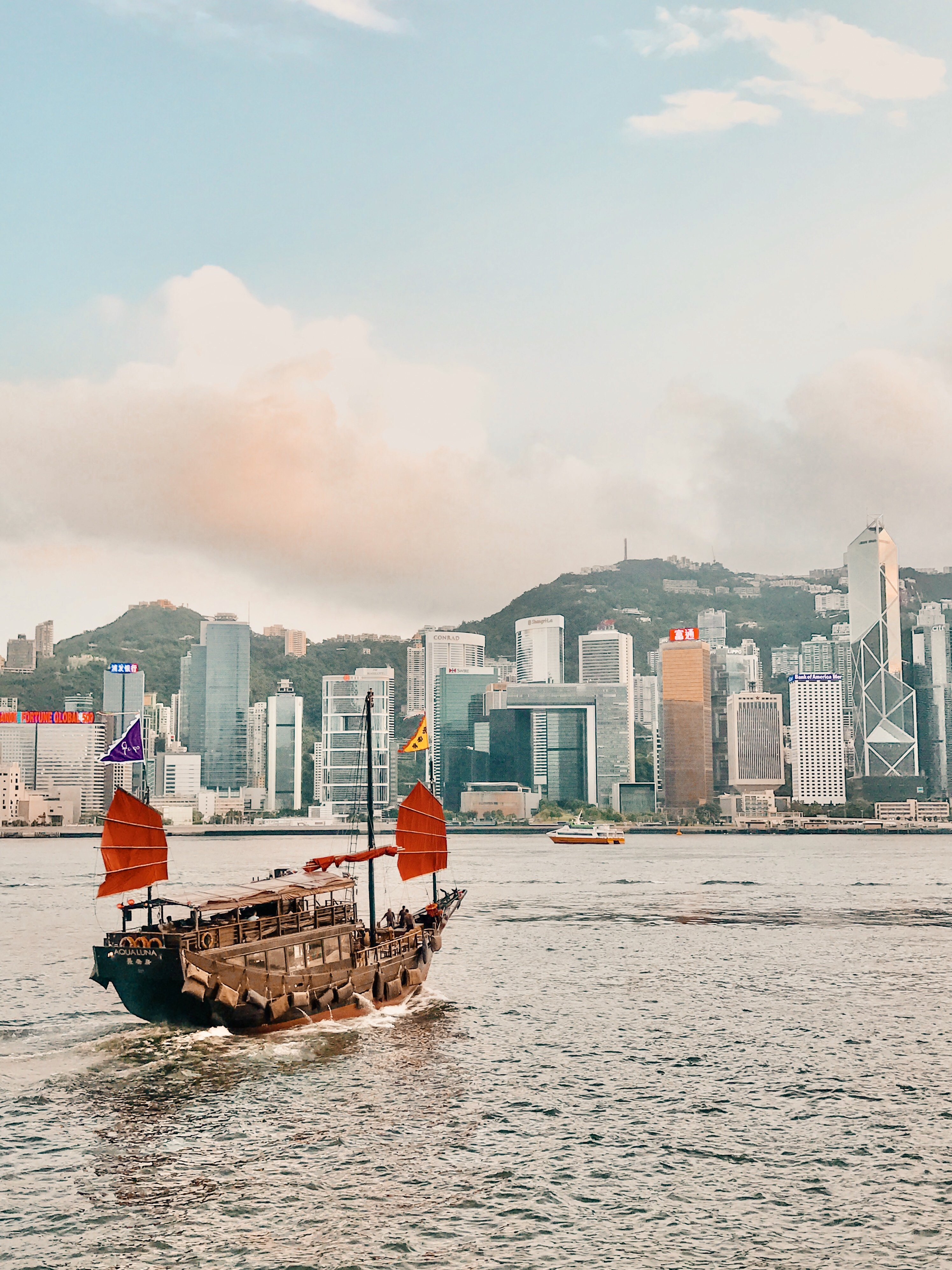 A traditional junk boat crossing Victoria Harbour