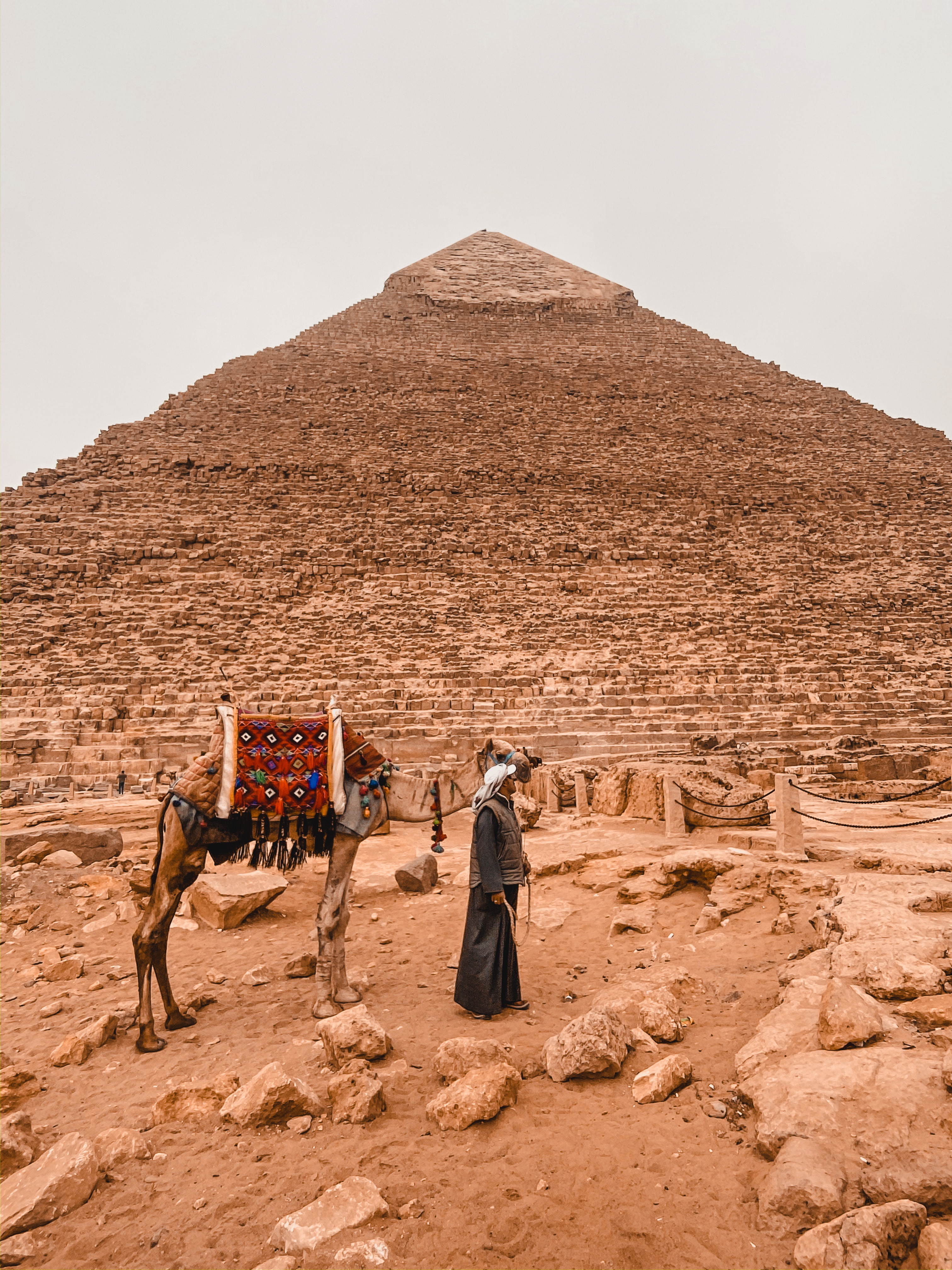 Man with camel in front of Great pyramids of Giza
