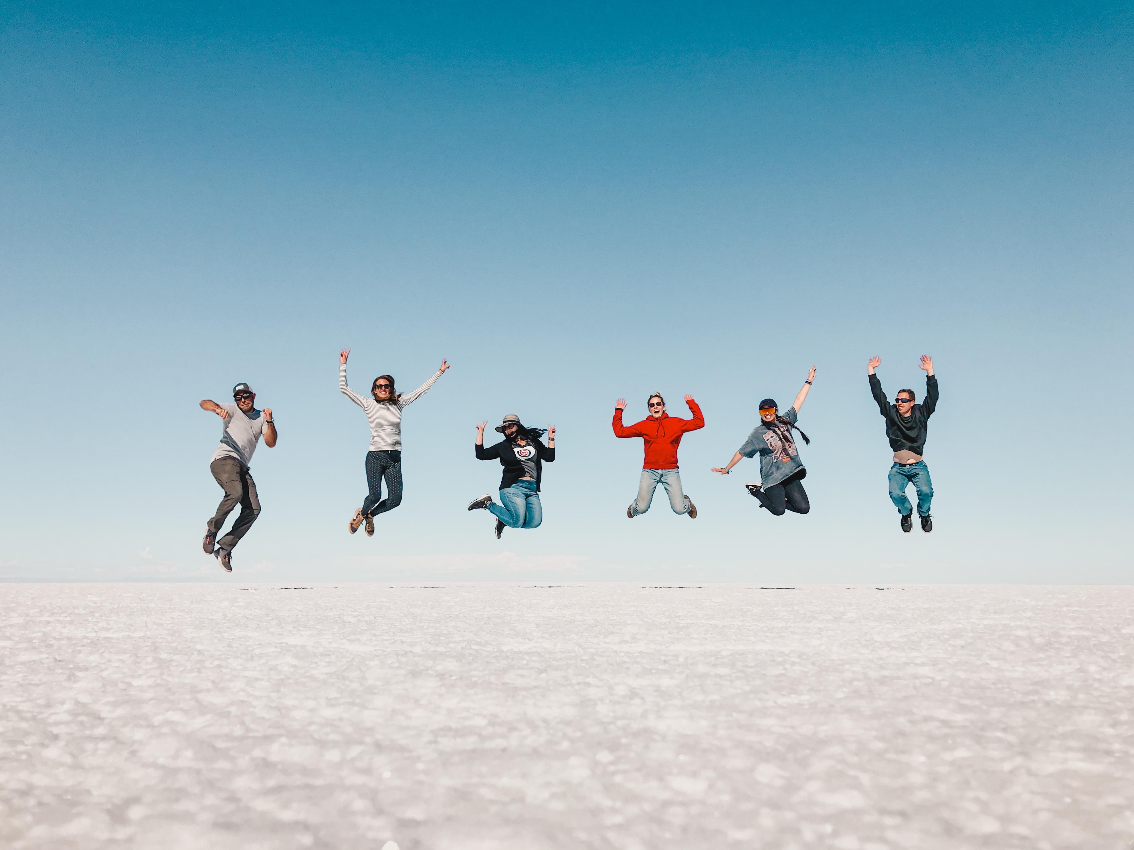 Jumping photo on salt lake