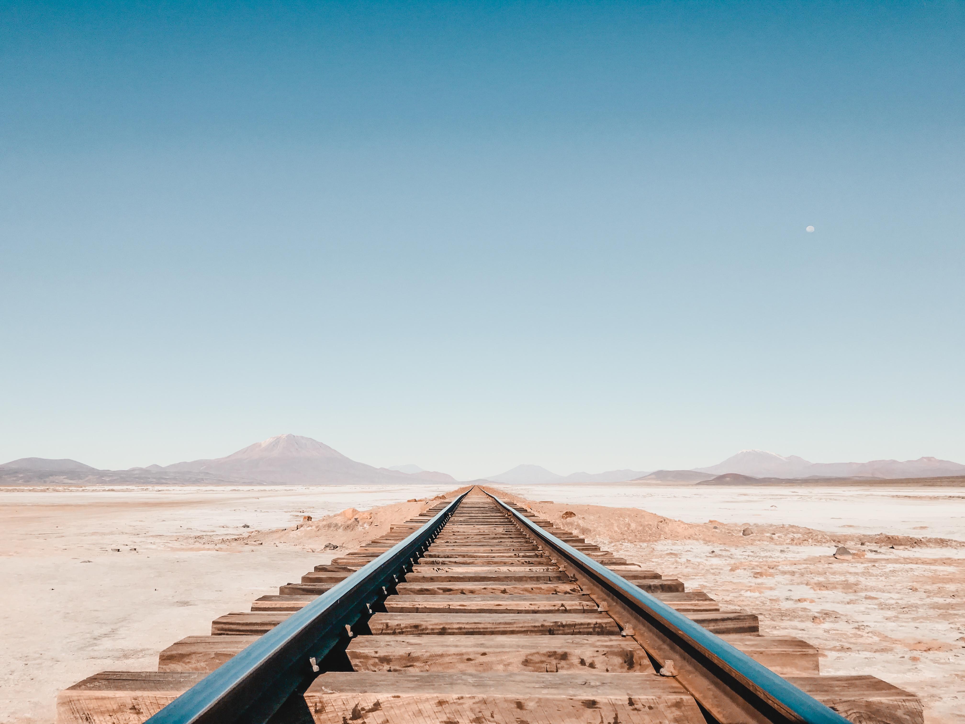 abandoned train track in the desert