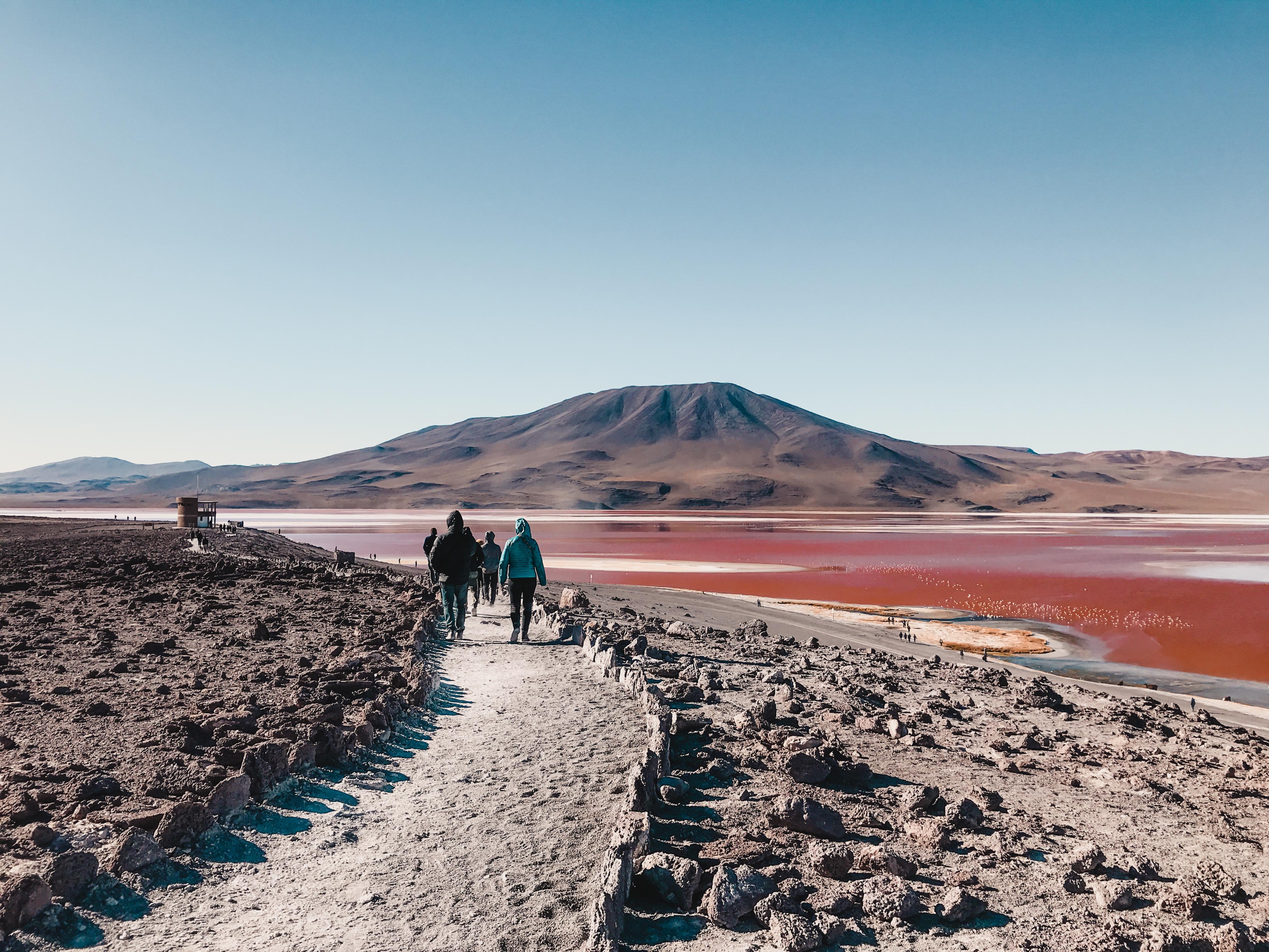 red lake in Bolivian desert