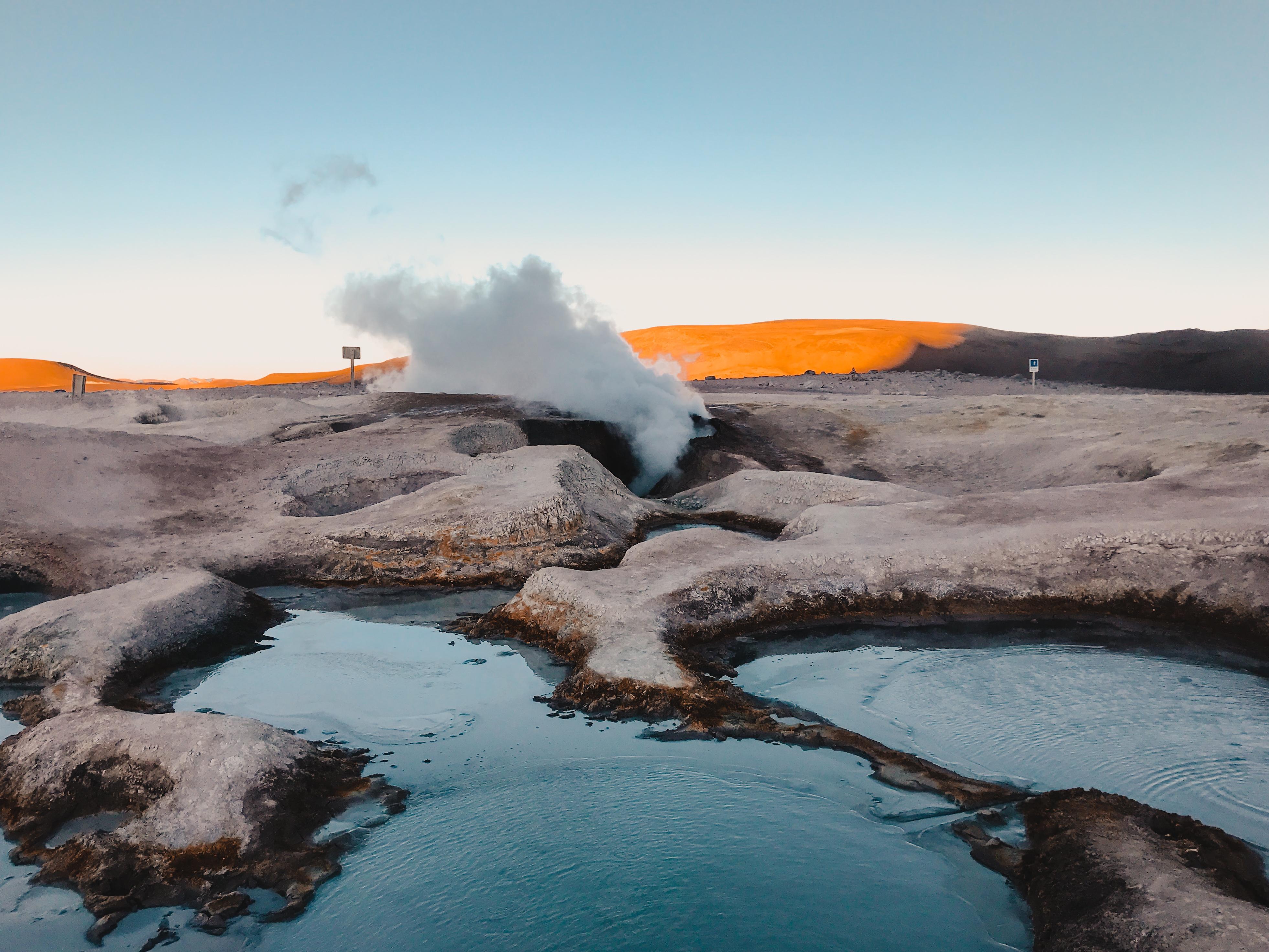 sulfur springs in desert Bolivia