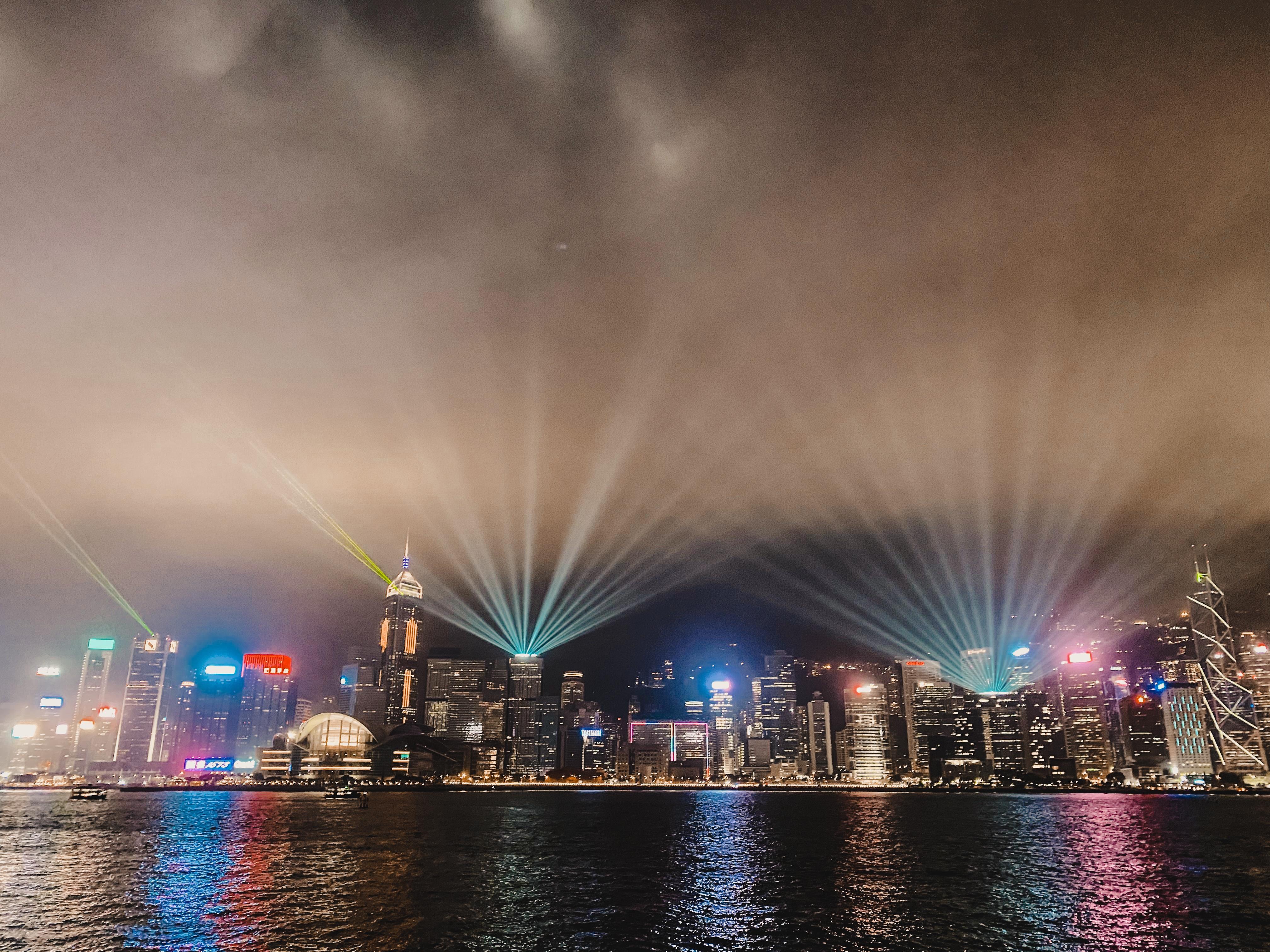 Victoria Harbour light show Hong Kong