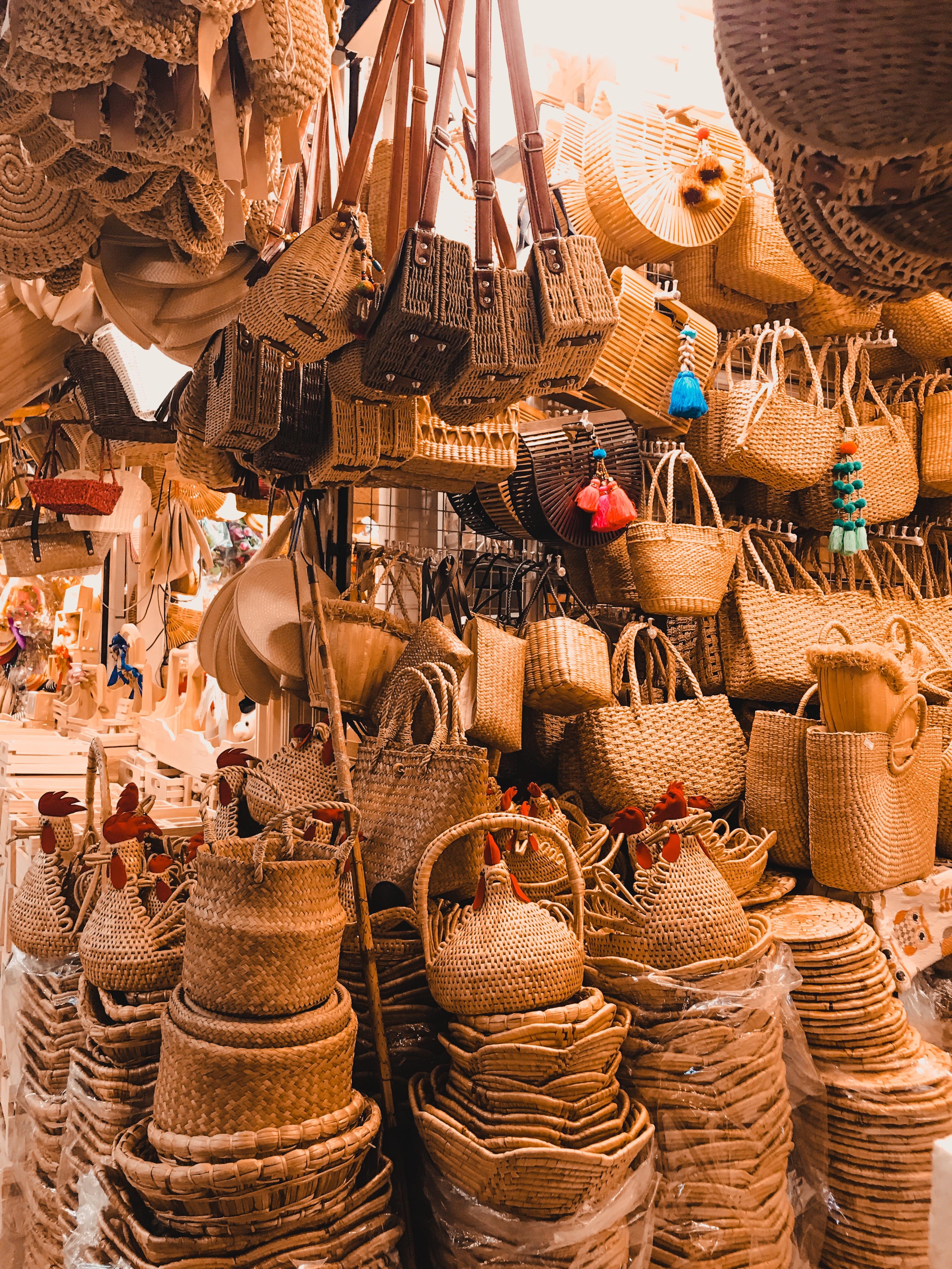 rattan bags at Chatuchak market Bangkok