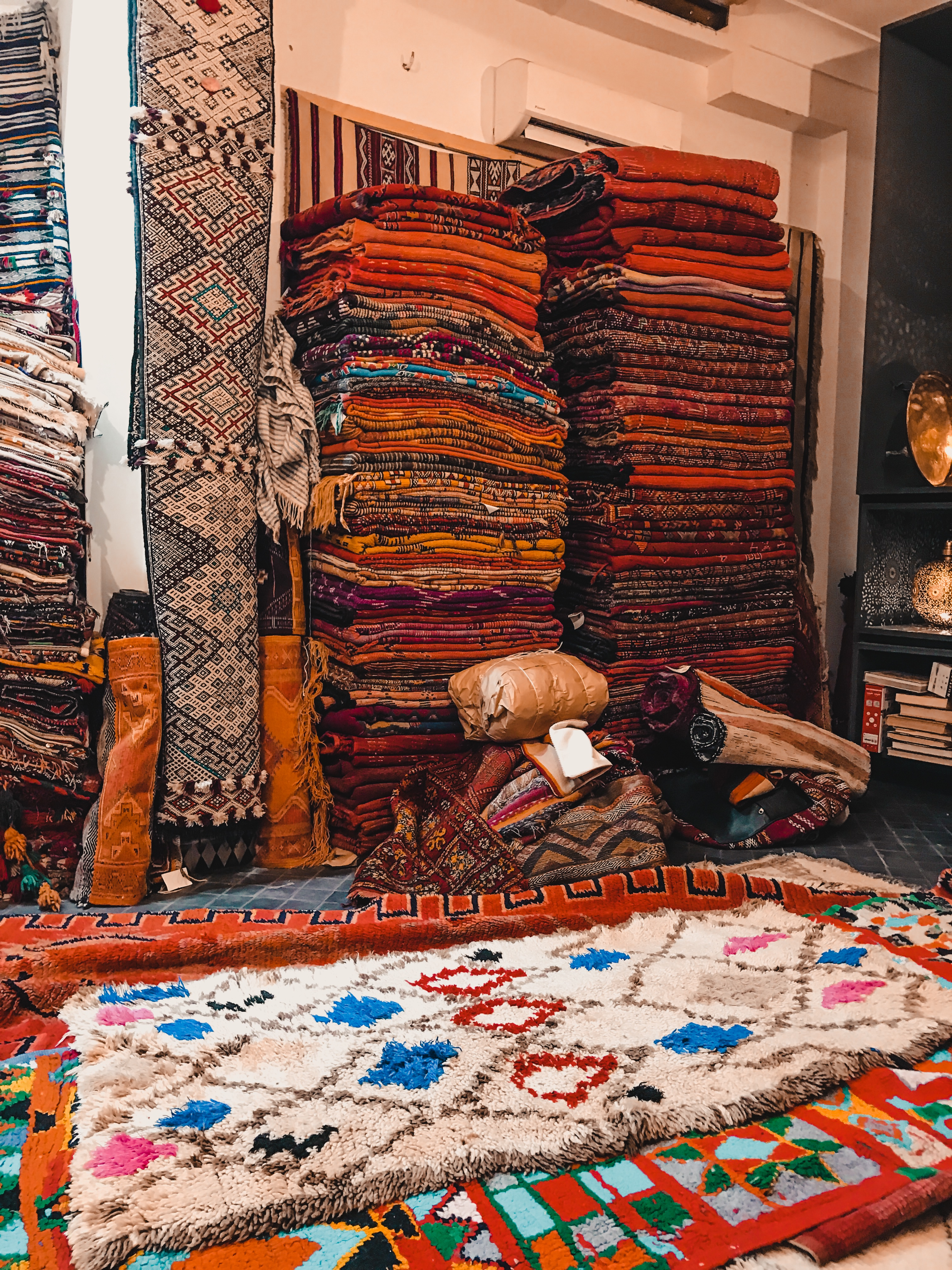 piles of Morocco rugs