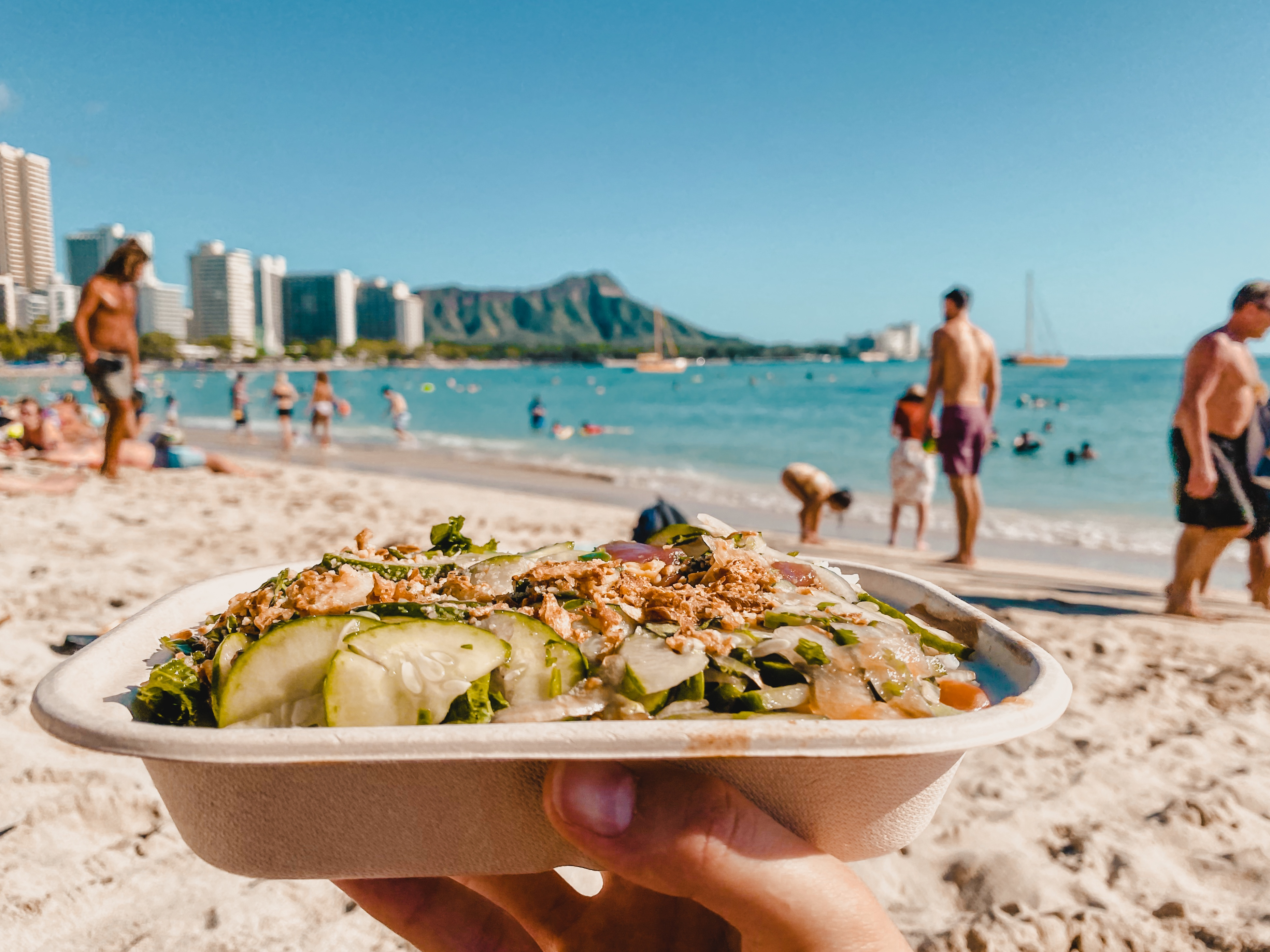 Hawaiian poke and diamond head